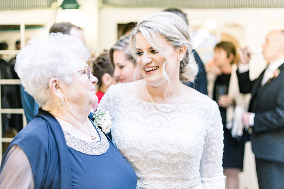 Natural shot of bride and her grandmother at Chesterfield Hotel wedding