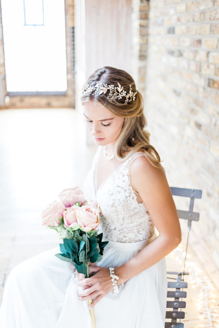 Boho Hackney bride before her loft style wedding