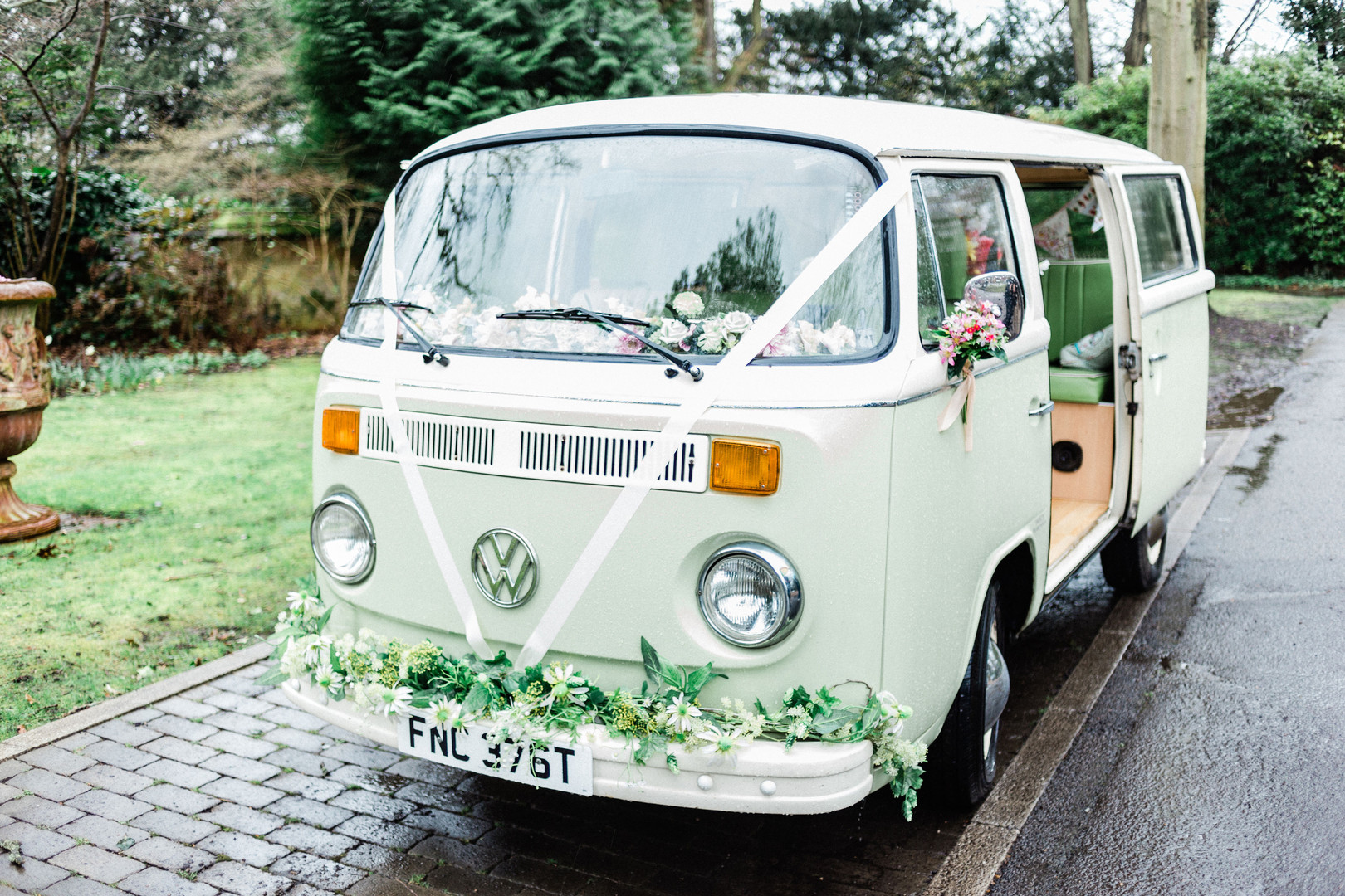 Boho mint wedding VW bus at Kingston wedding