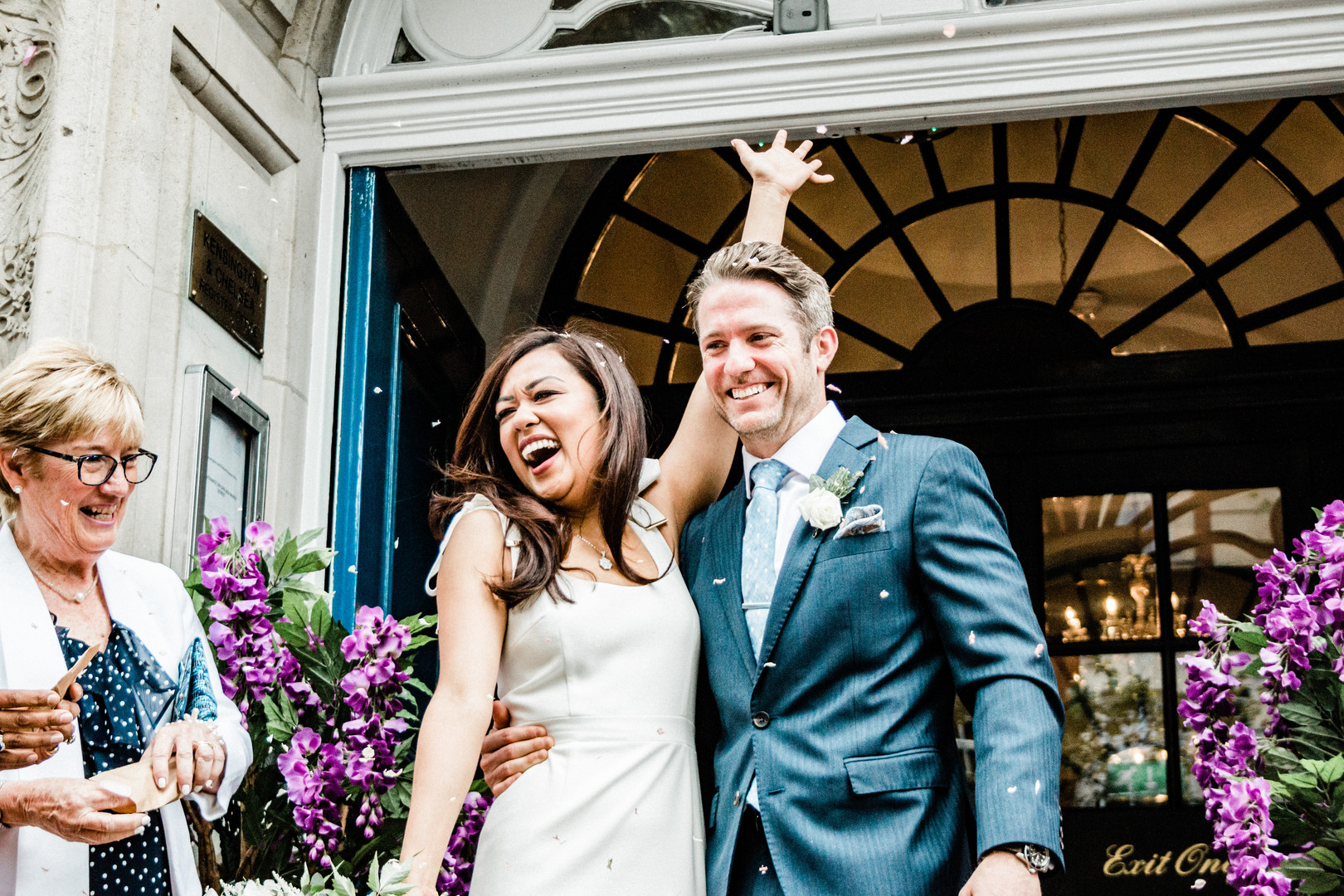 Chelsea Old Town Hall fun wedding photography confetti exit