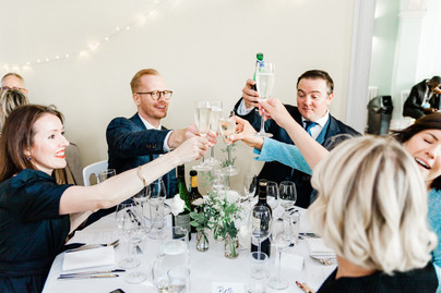 Clissold House wedding guests toasting at reception