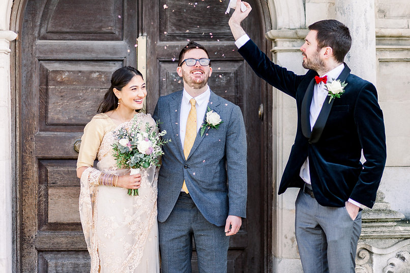 Confetti shower at Charlton House, Greenwich by London wedding photographer