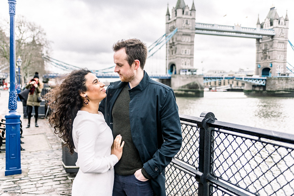 Tower Bridge London engagement shoot. Natural engagement and wedding photography in London.