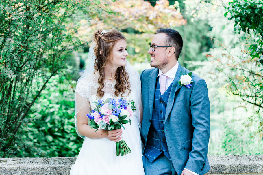 Bride and groom at their wedding in Bath, Somerset