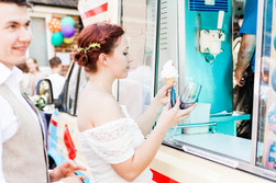 Bride eating an ice cream at her Berkshire wedding