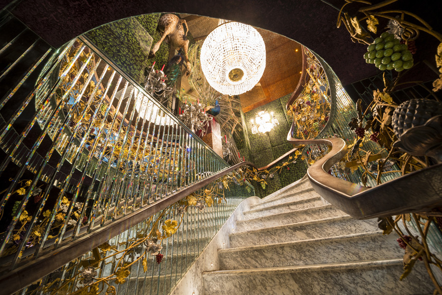 Main staircase at The Crazy Bear Beaconsfield, an intimate wedding venue