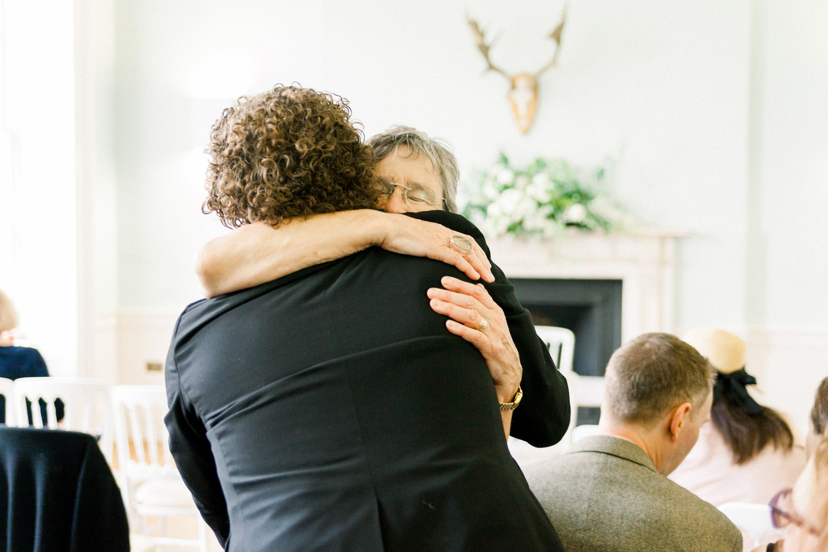 Loving hug at Clissold House wedding photography