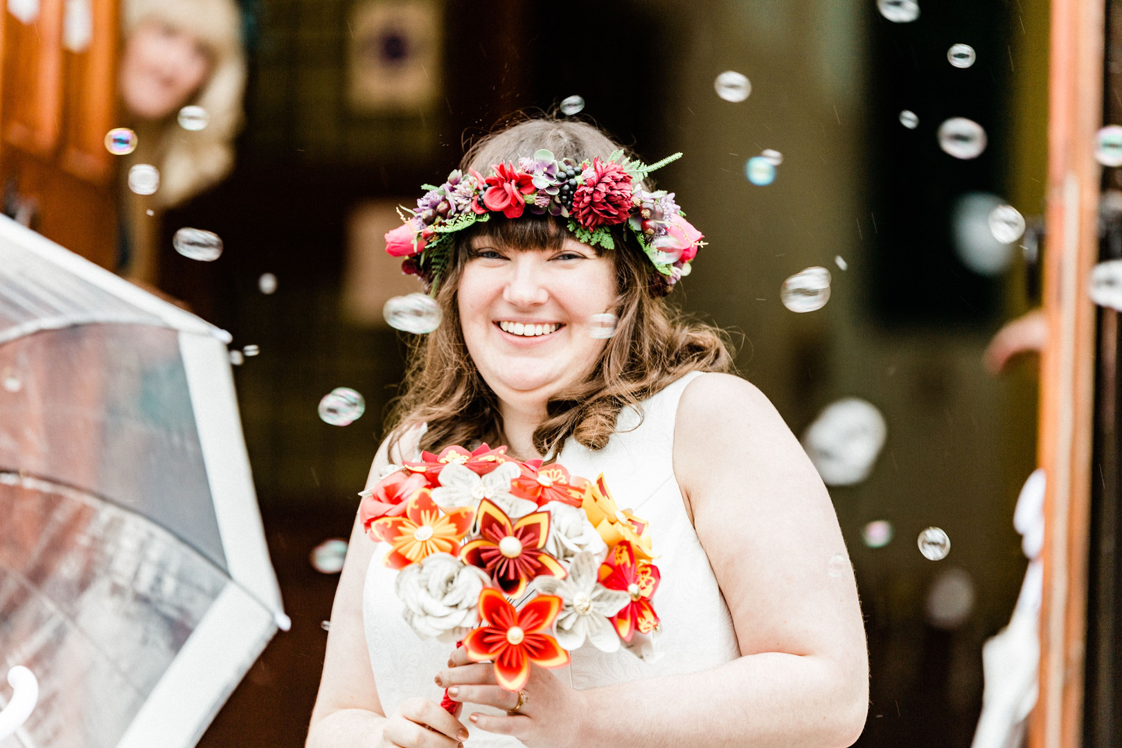 Natural photo of bride and bubbles at London wedding
