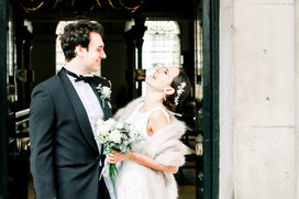 Bride and groom outside St George's Church in Bloomsbury