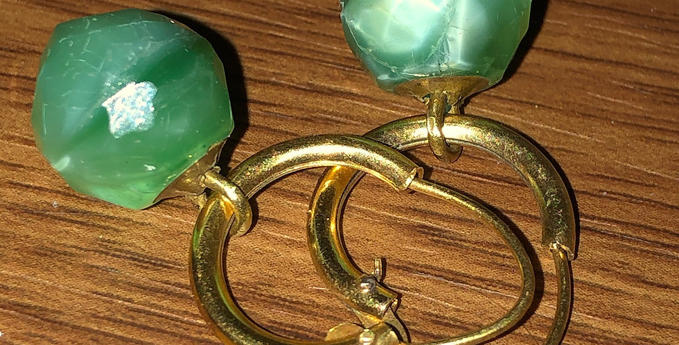 1920s hoops with green stone drops