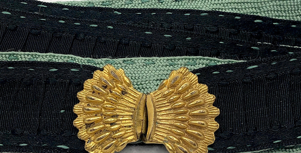 Handsewn vintage belt with 1930s Fan buckle