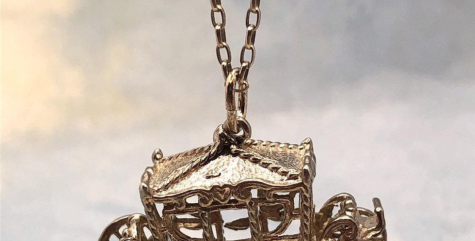 Vintage silver Cinderella carriage on silver belcher chain