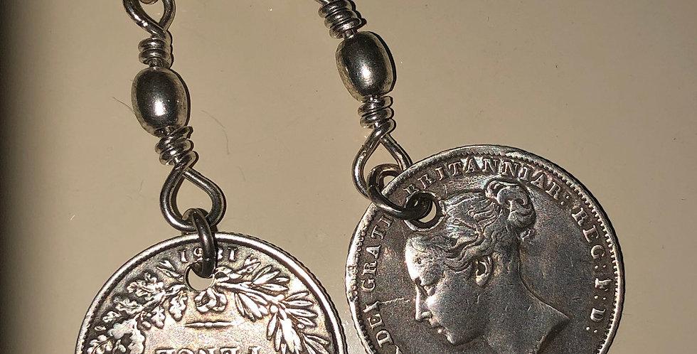 Queen Victoria coin earrings