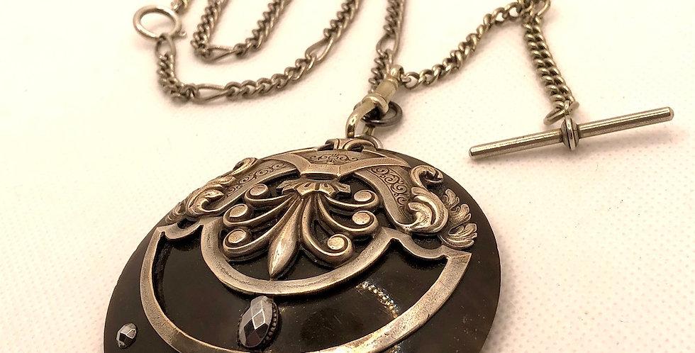 Art Nouveau pendant on silver fob chain