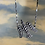 Thumbnail: Victorian cut steel swallow on mixed silver chain with faux pearls