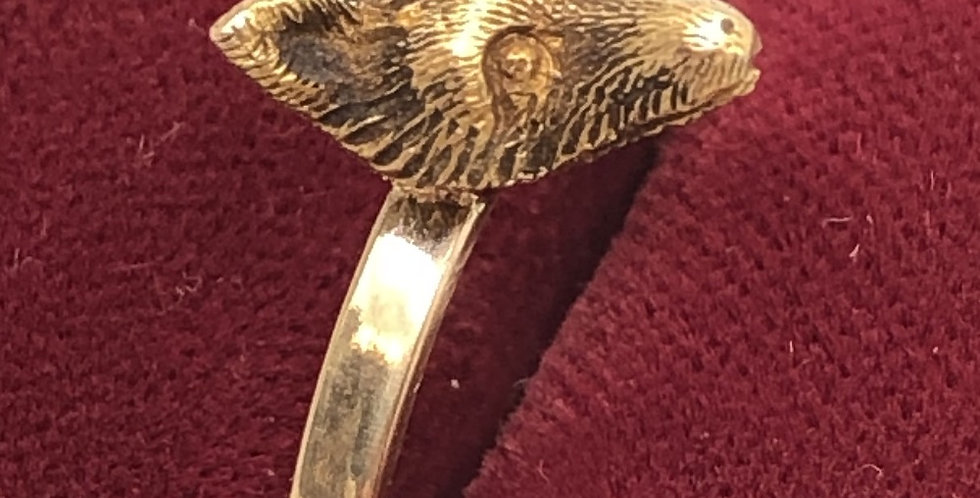 Edwardian fox ring 9ct gold