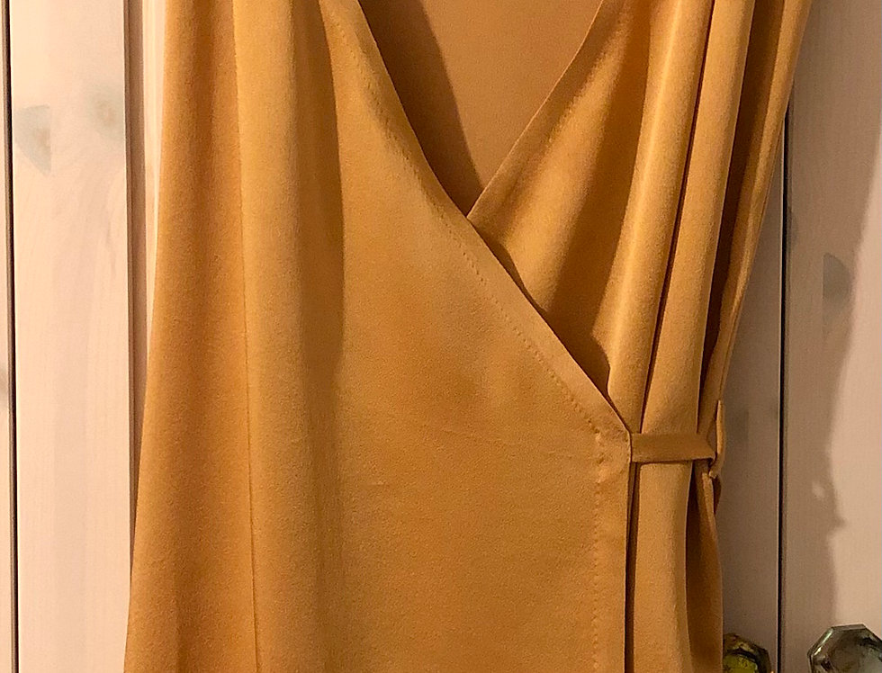 Flapper wrap slip dress with chevron hem