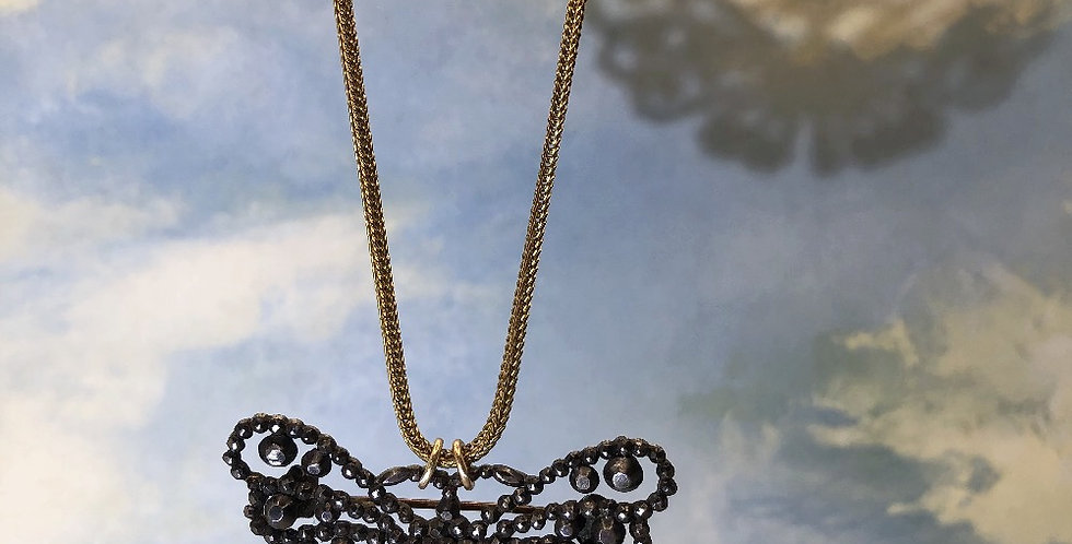 Victorian cut steel butterfly on vintage rolled gold chain