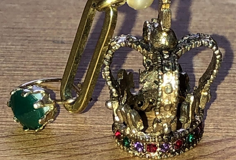 Single mismatched earring, handmade with vintage parts, crown and chrysoprase