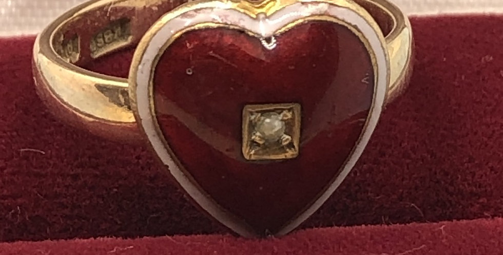 Victorian guilloche heart and pearl gold ring