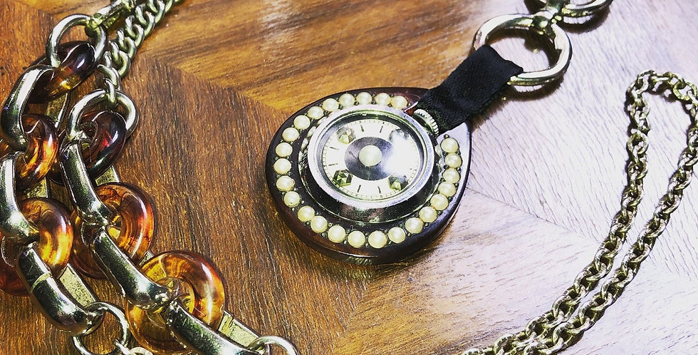 An original 1920s re-worked fob watch pendant with pearls lariat necklace