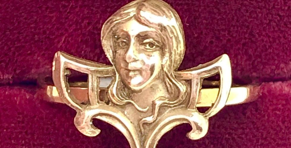 Joan of Arc gold ring, Art Nouveau