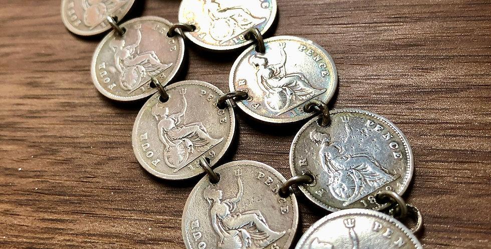 Double Queen Victoria coin bracelet