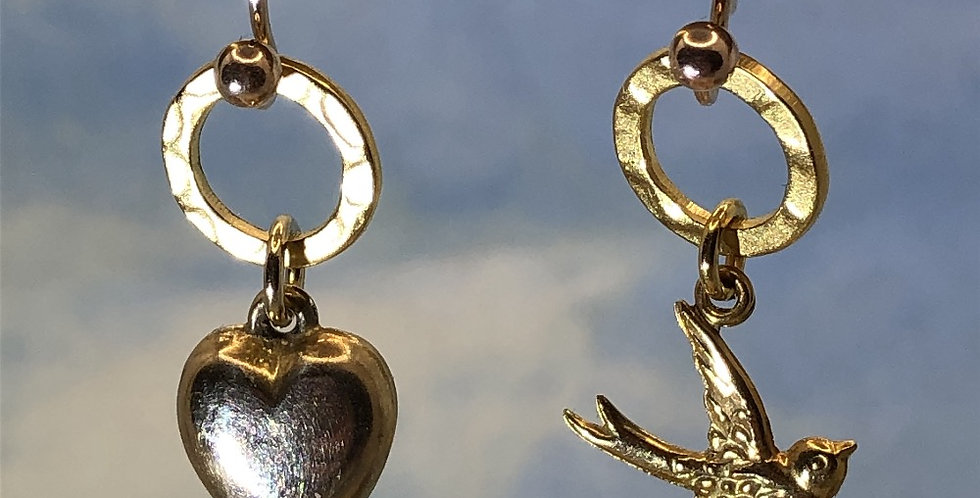Swallow and heart vintage 9ct gold mismatched earrings