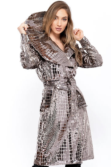 4. silver croco trench coat (Front close