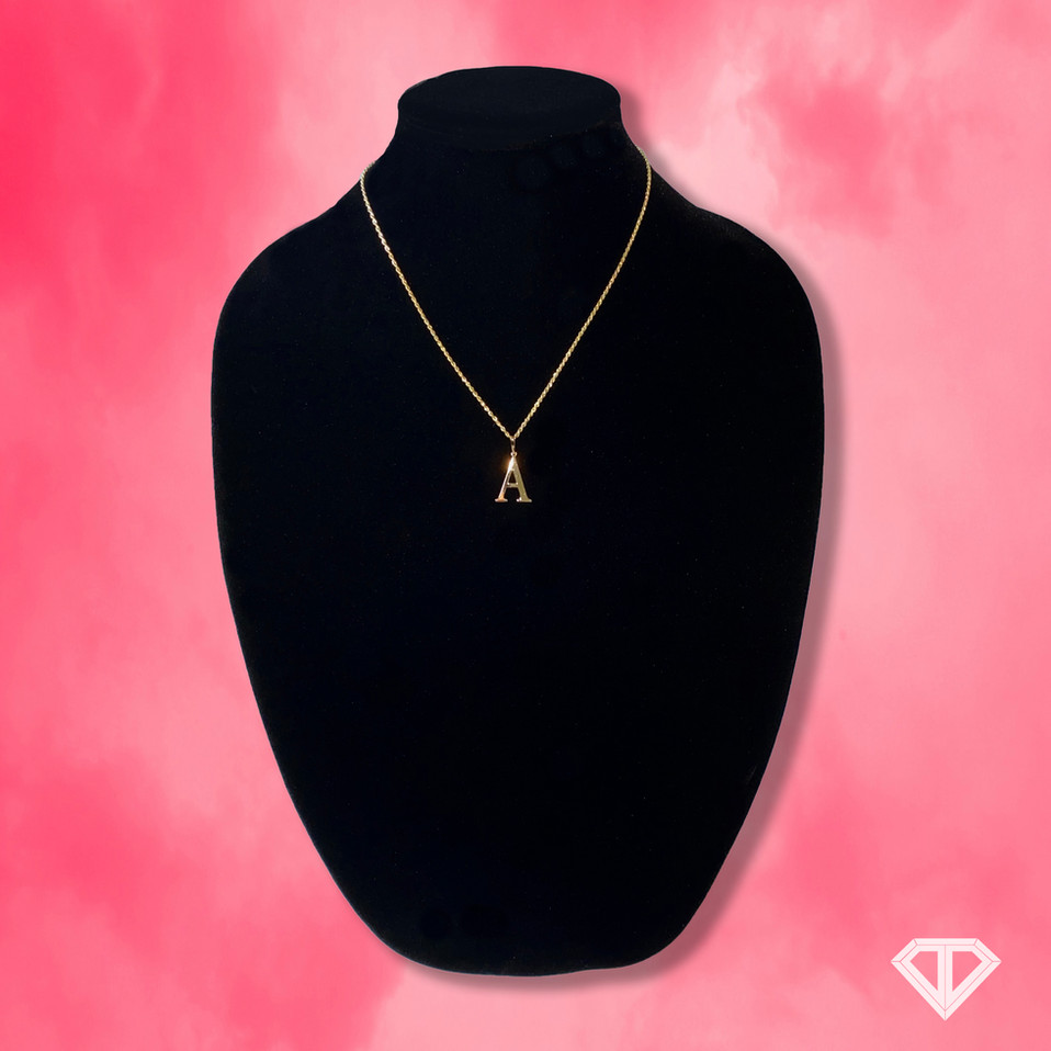"10k Custom ""A"" Letter Necklace"