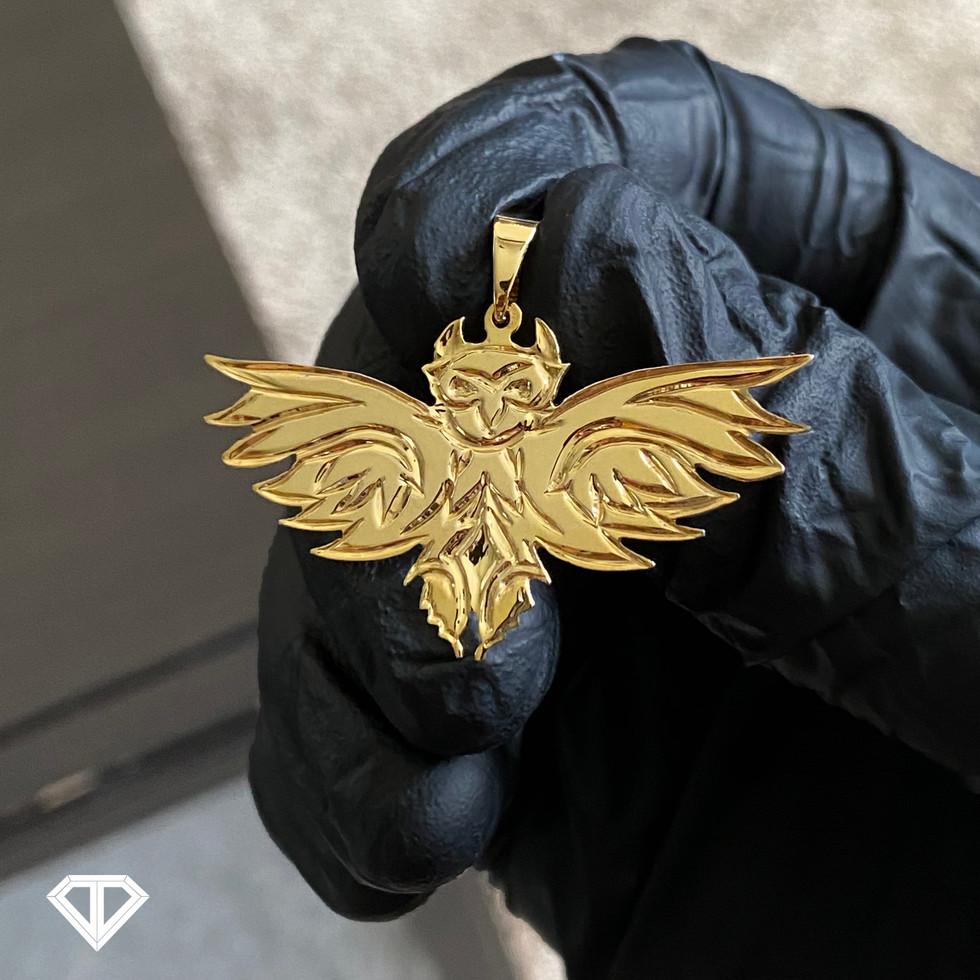 14k Custom Owl Pendant