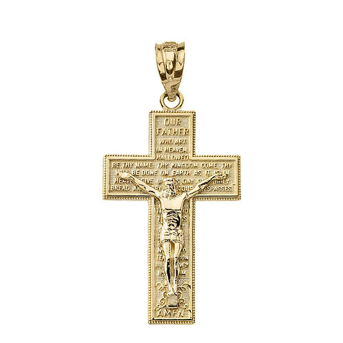 """Our Father"" Prayer Crucifix Cross Pendant"