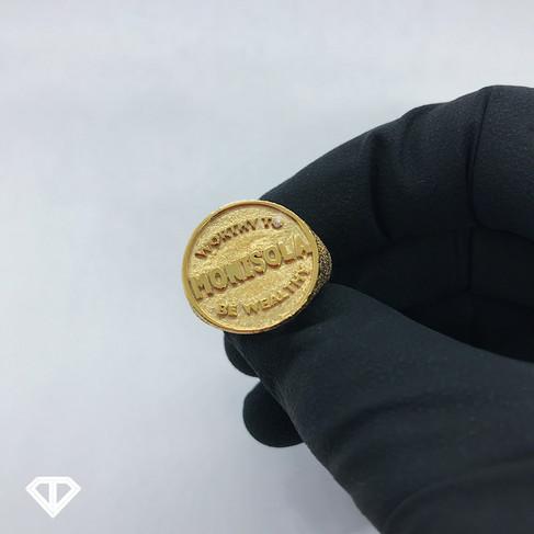 Custom 18k Name/Definition Ring w/ a SI1 White Diamond