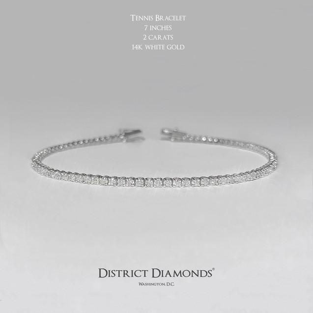 14k White Gold 2ct. Tennis Bracelet