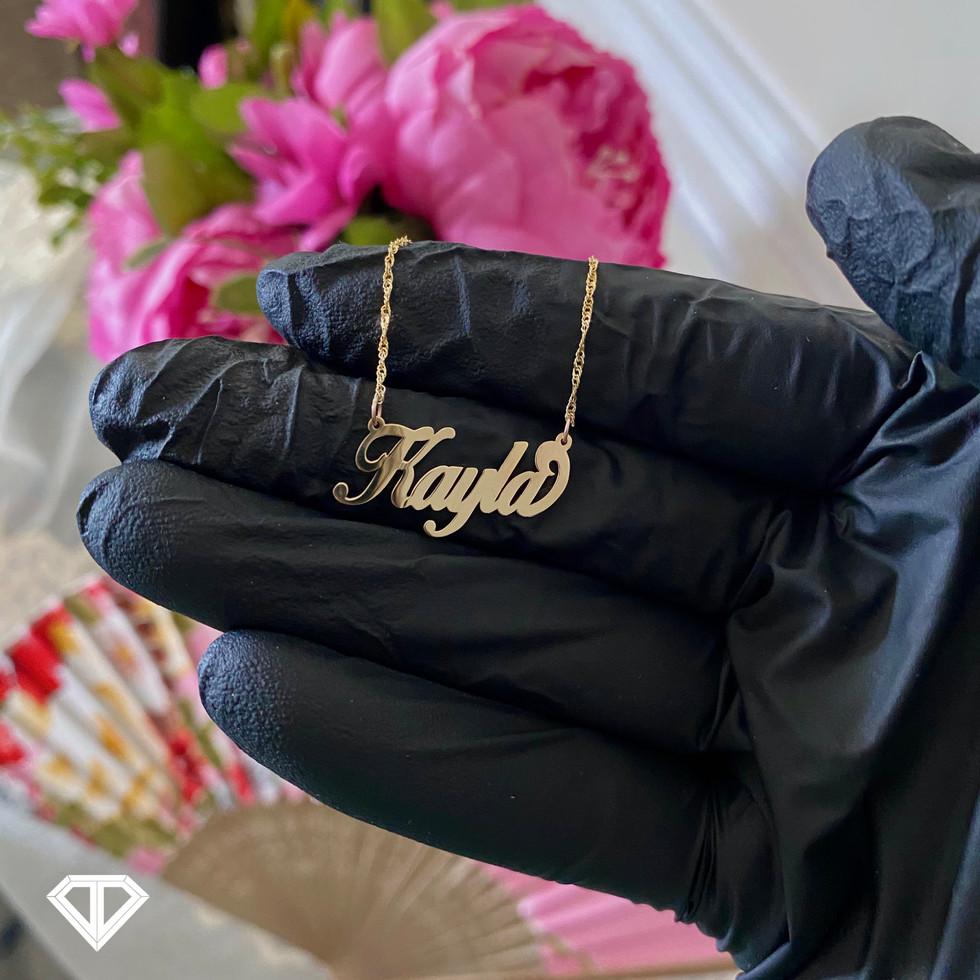 """10k """"Kayla"""" Name Necklace"""