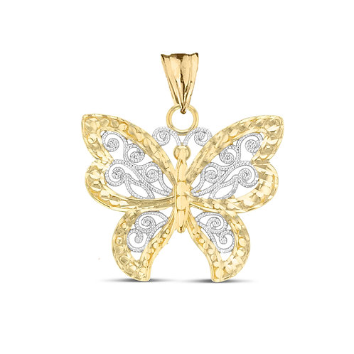 Butterfly Filigree Two-Tone Pendant