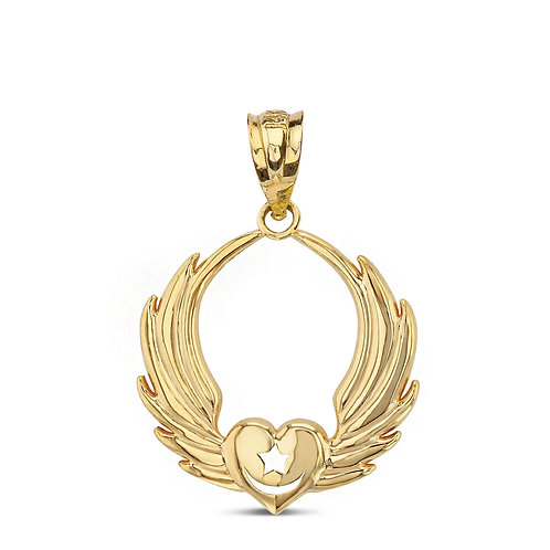 Winged Heart Crescent Moon Pendant