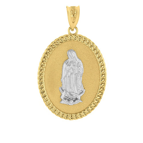 Saint Oval Two Tone Pendant - Cuban Link Trim