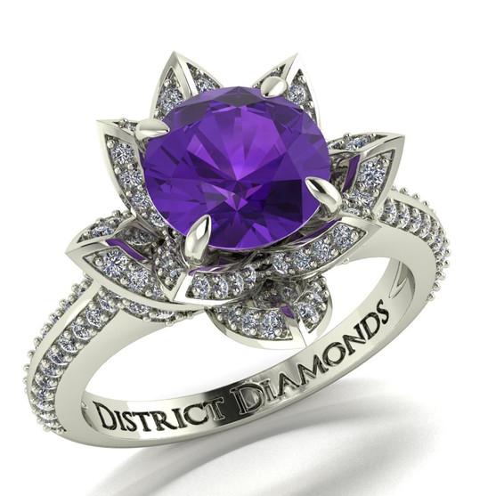 VS1 Diamond & Amethyst Engagement Ring - 10k White Gold