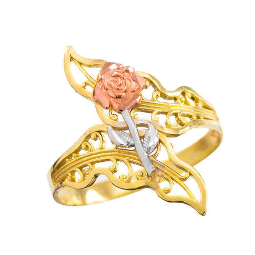 Rose Filigree Ring Tri-Tone