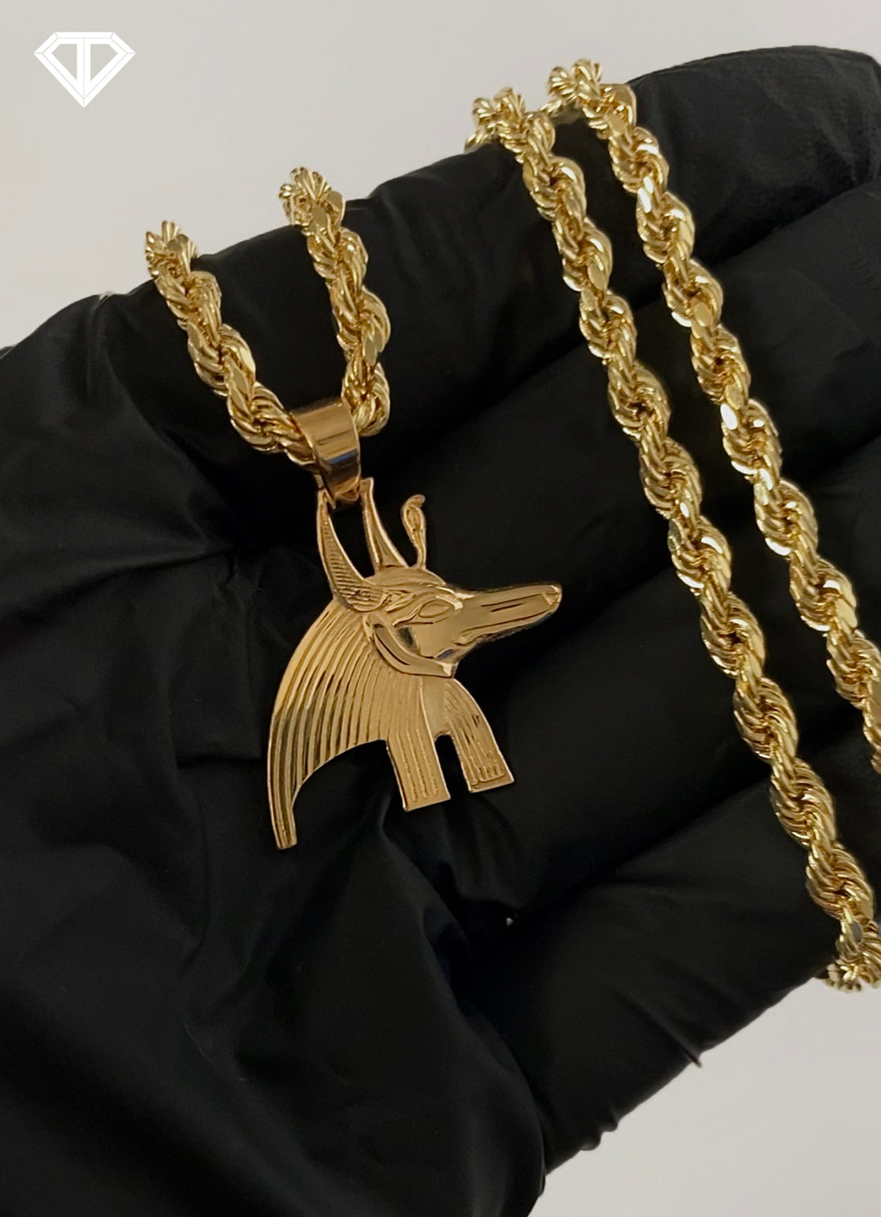 14k Custom Anubis Head Chain