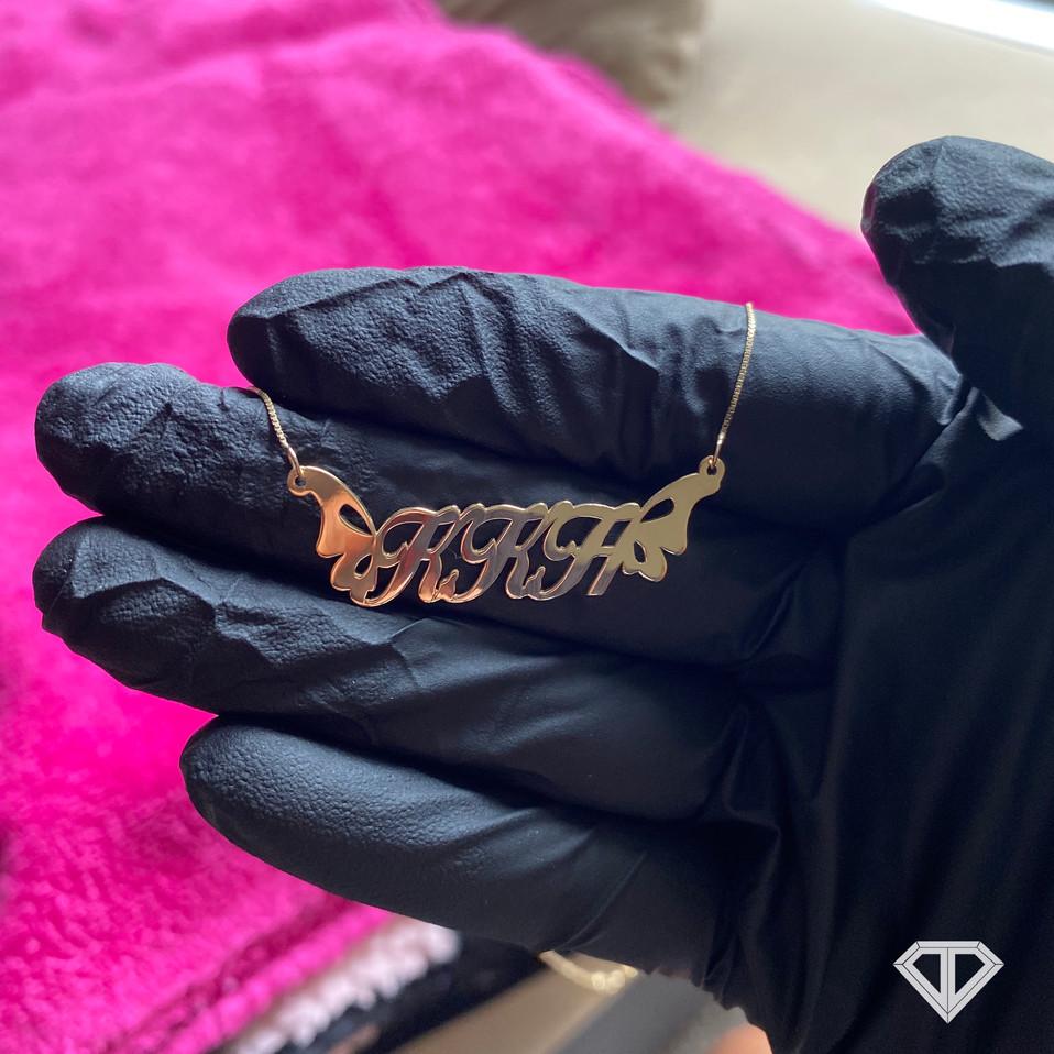 """Custom 10k Butterfly """"KKH"""" Necklace"""