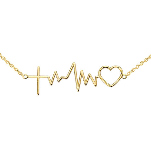 Cross Pulse Heart Necklaces