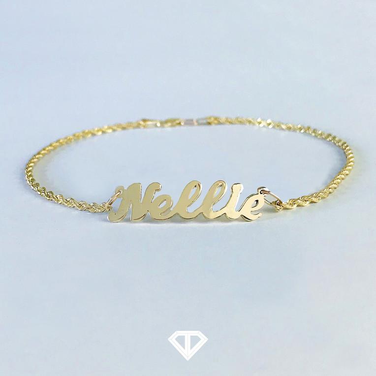 """10k """"Nellie"""" Name Anklet"""