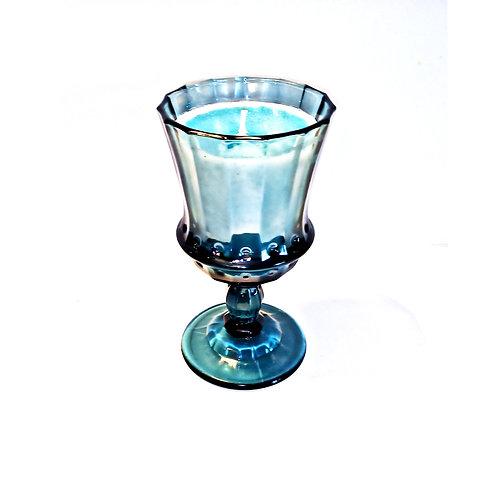 Ocean Wave (High Tide) Blue Stemware Candle