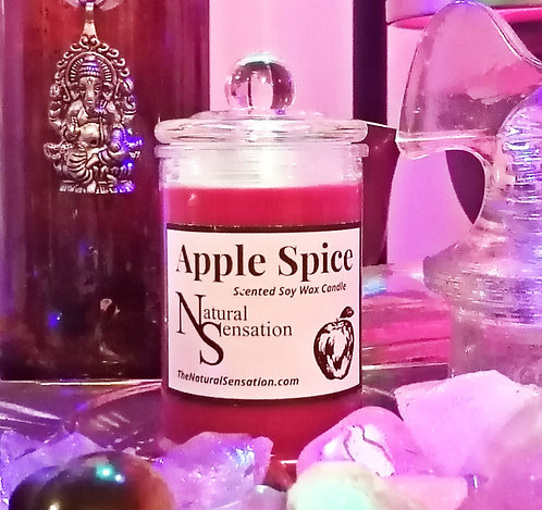 Apple Spice Glass Jar Candle With Lid