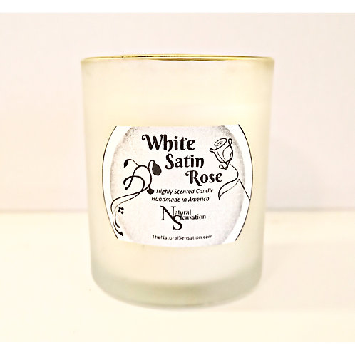 White Satin Rose Frosted Golden Rim Candle