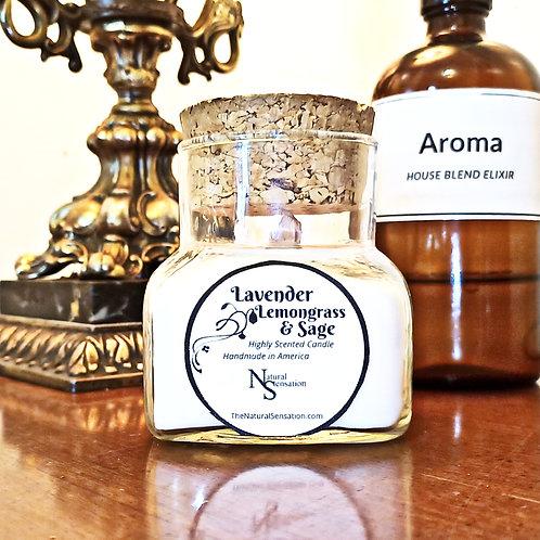 Lavender Lemongrass & Sage Wooden Wick Corked Jar Candle