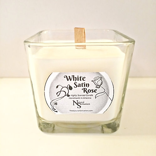 White Satin Rose Wooden Wick Candle