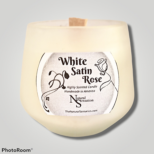 White Satin Rose Frosted Wooden Wick Candle